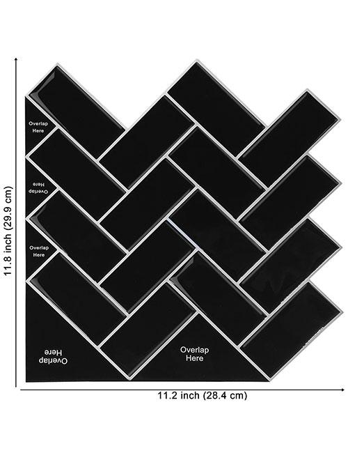 big size black vinyl herringbone tile