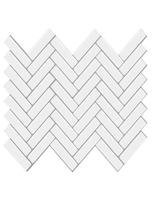 peel and stick white herringbone tile