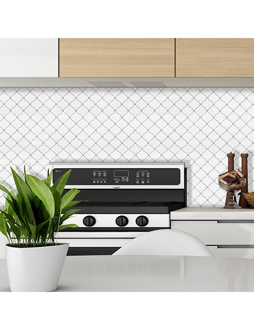 white arabesque tile peel and stick for kitchen backsplash