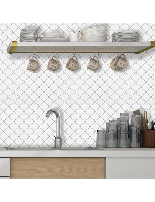 white arabeque lantern vinyl tile for kitchen walls