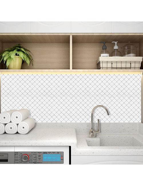 white arabesque tile for landury room