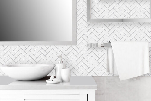 peel and stick white chevron tile for home walls