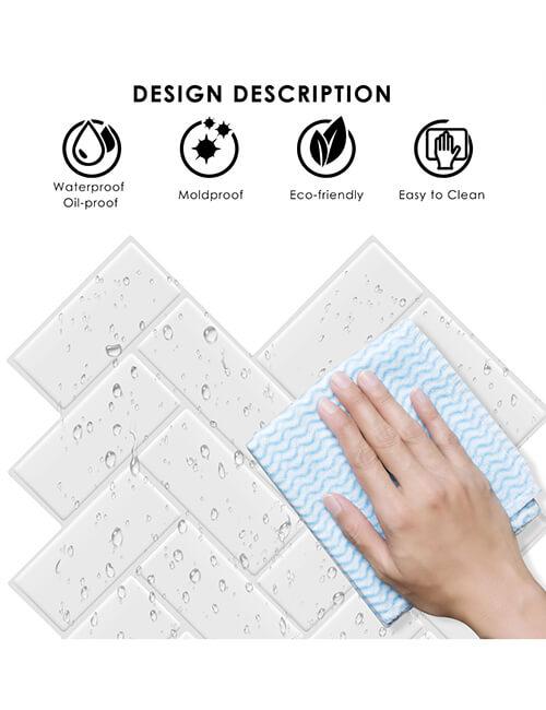 high gloss waterproof white chevron vinyl tile