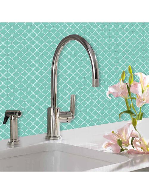 kitchen backsplash green tile