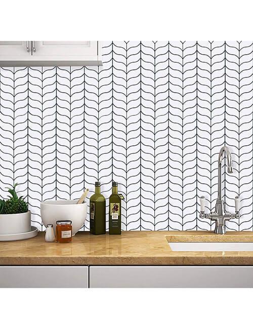 home wall decor stick on leaf mosaic tile
