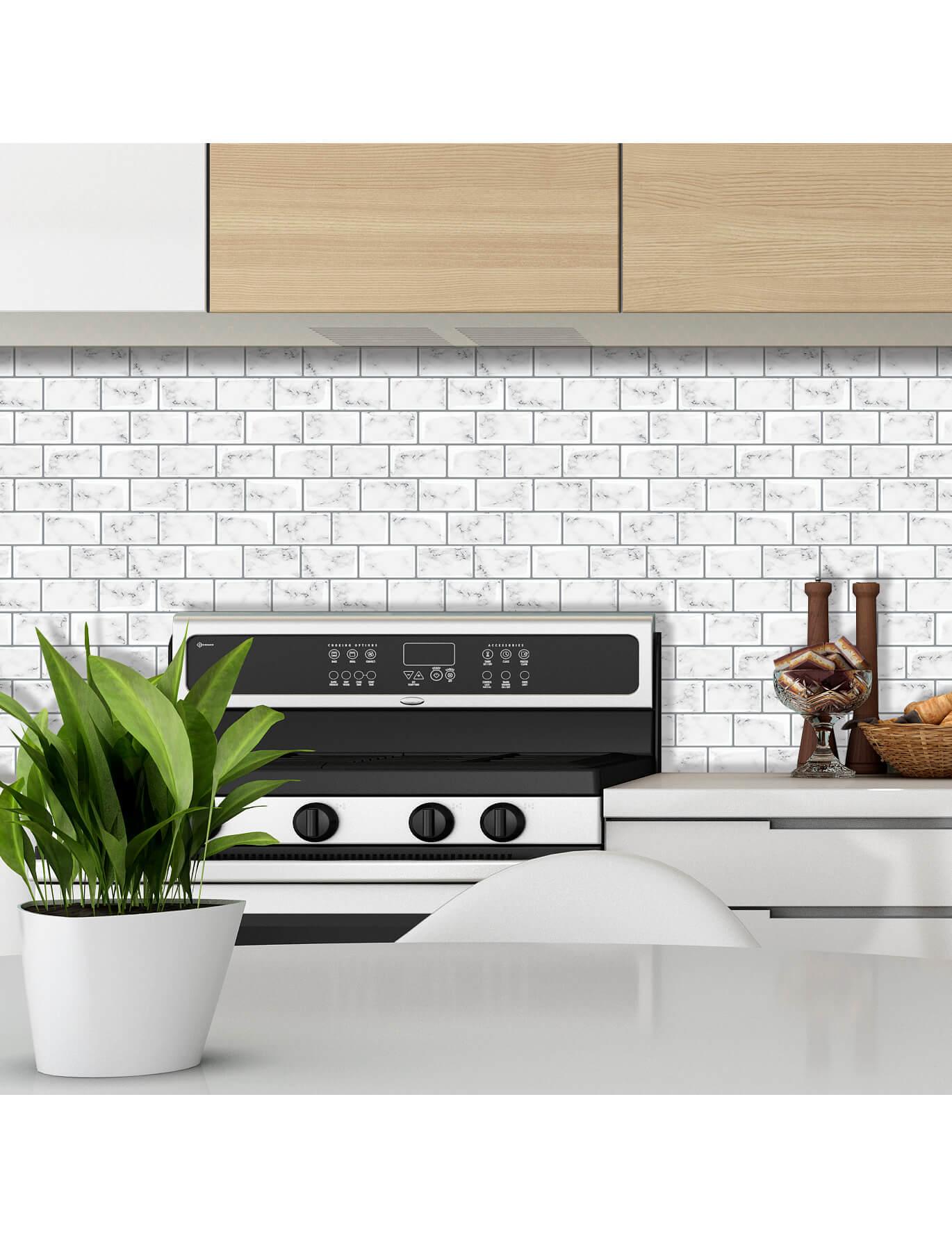 peel and stick white kitchen marble tile