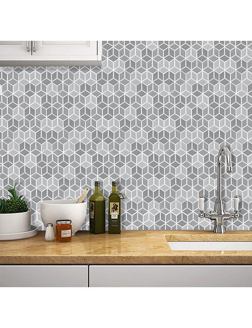 peel and stick cubic tile for kitchen walls