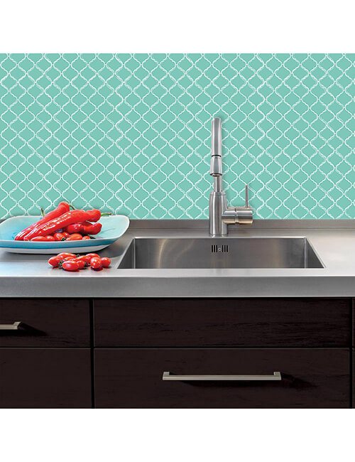 peel and stick green kitchen tile
