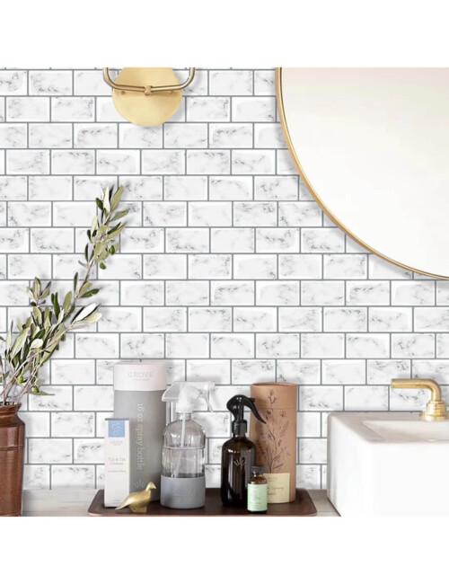 bathroom peel and stick white marble tile