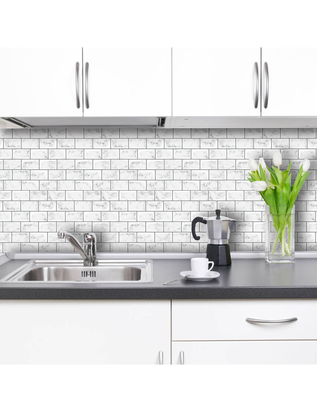 kitchen wall covering peel and stick white marble tile