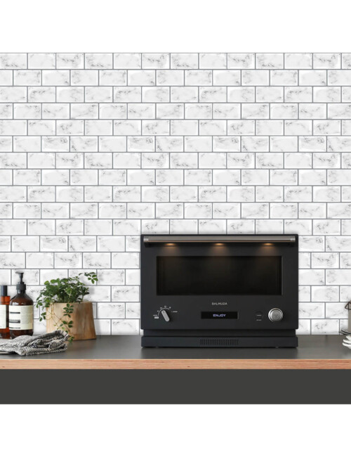 peel and stick white marble decal tile