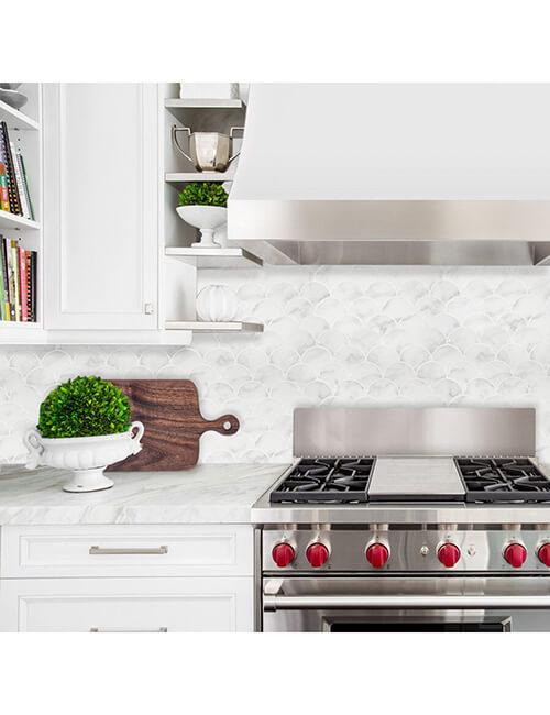 kitchen backsplash sticky fish scale tile