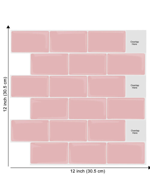 12 x 12inch pink tile