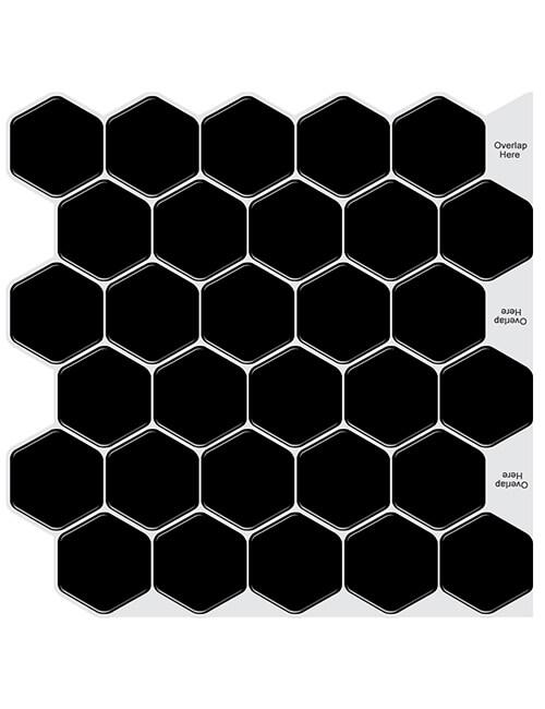 peel and stick black hex tile