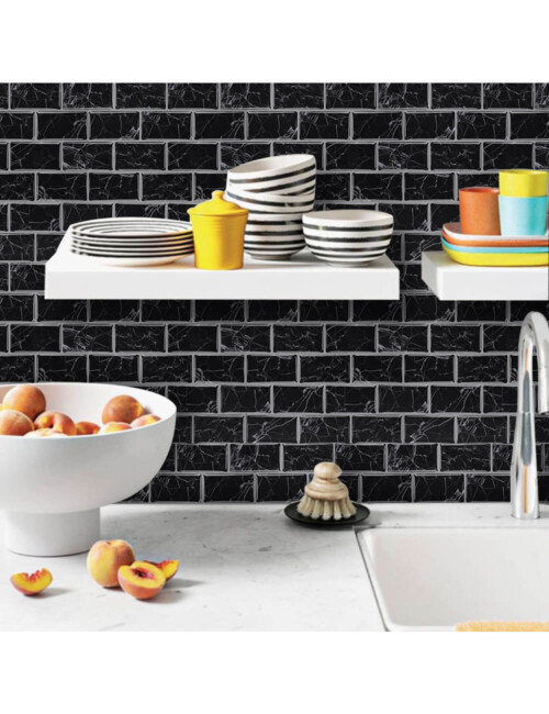 black marble subway tile for home walls