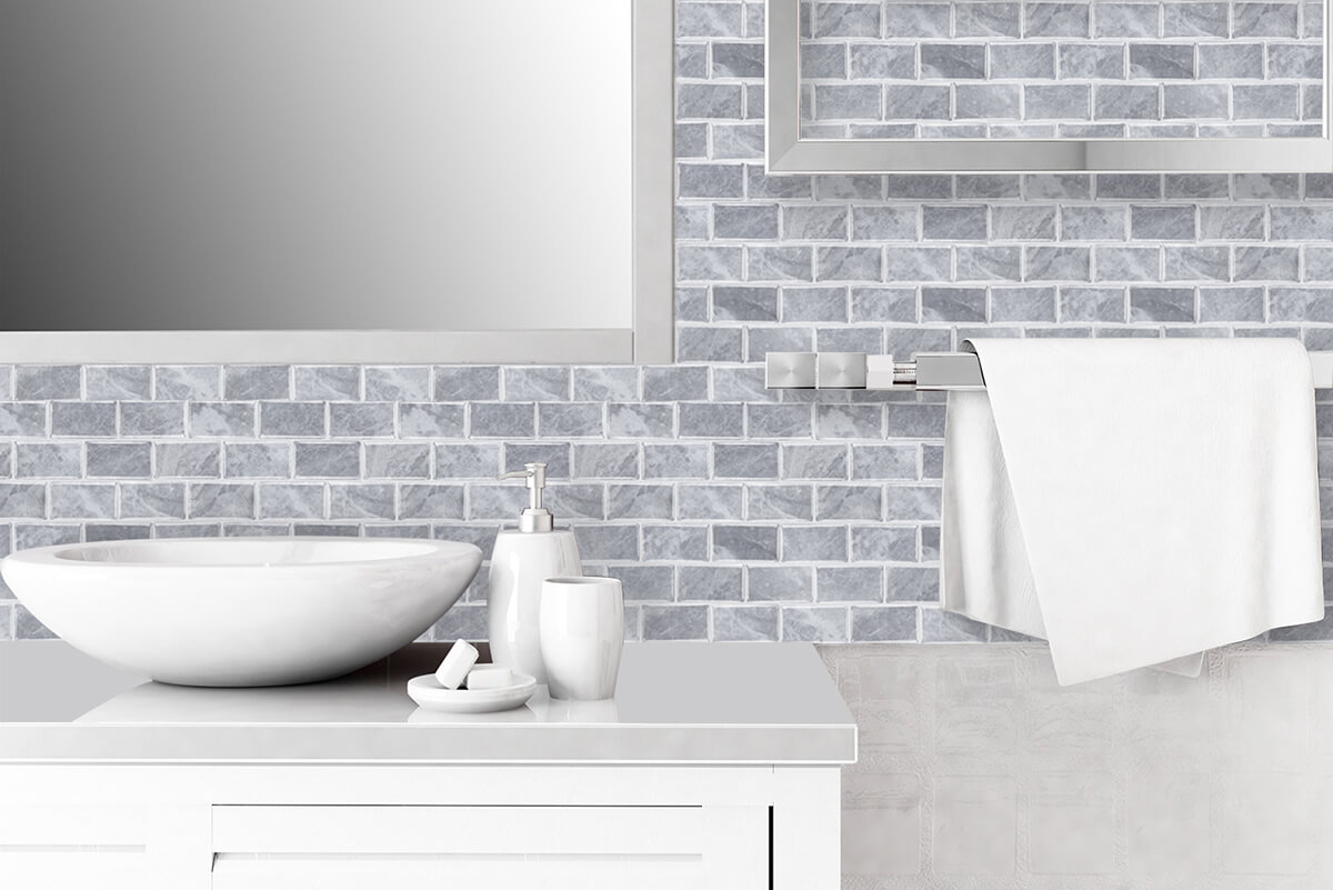 peel and stick stone bricks gray subway tile for bathroom
