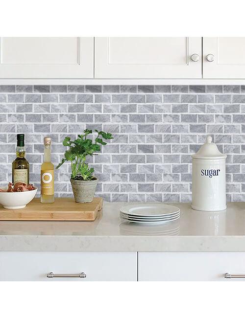 stone brick gray vinyl tile for kitchen walls