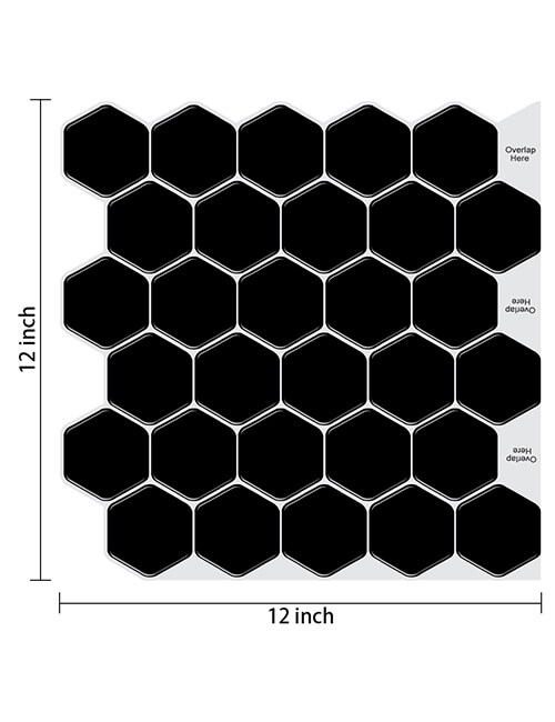 12 x 12inch peel and stick black hex tile