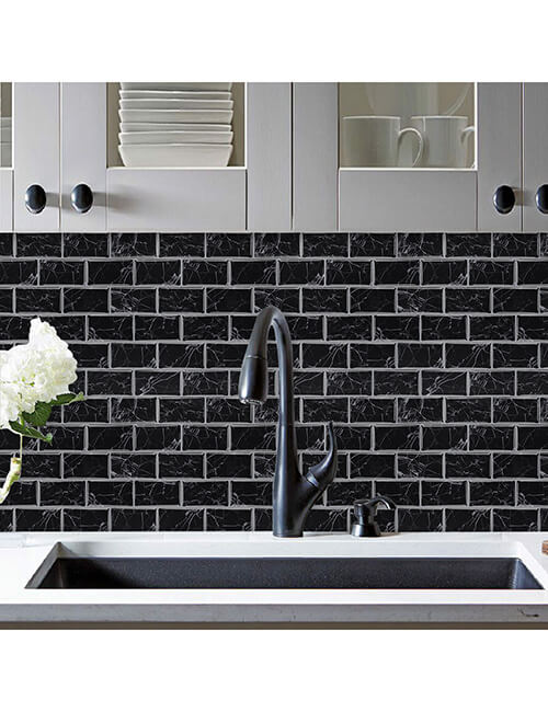 peel and stick black marble tile for kitchen walls
