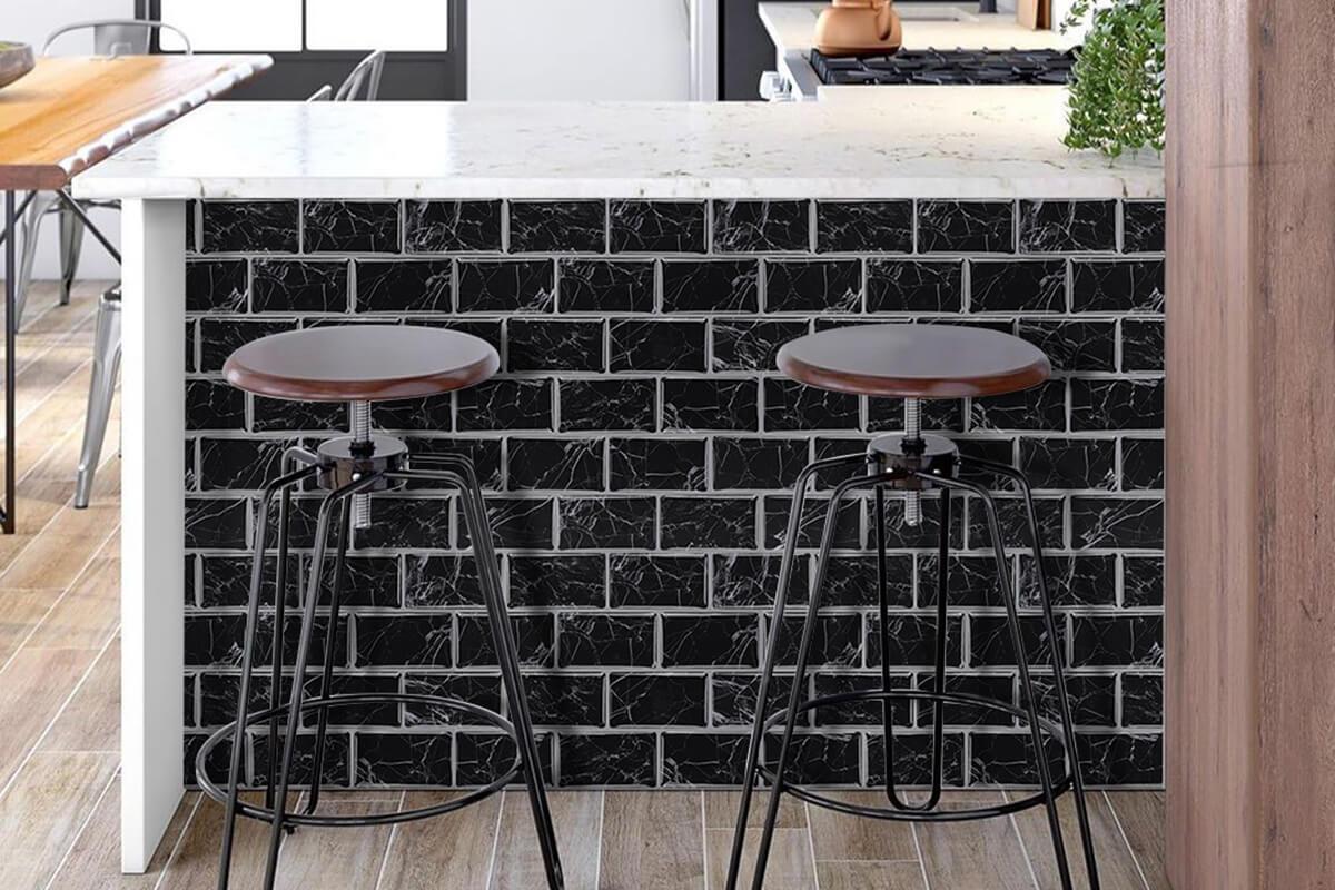 black marble tile for kitchen island