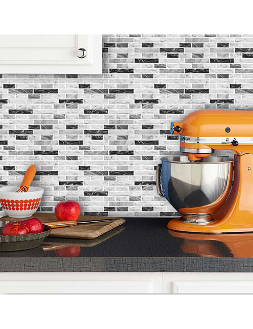 peel and stick dove gray and white marble tile for kitchen backsplash