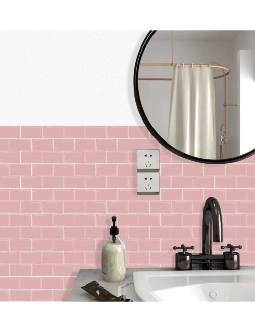 peel and stick pink tile for bathroom