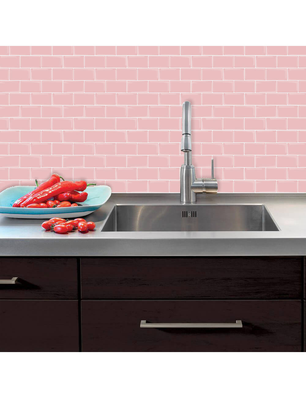 peel and stick pink subway tile for kitchen