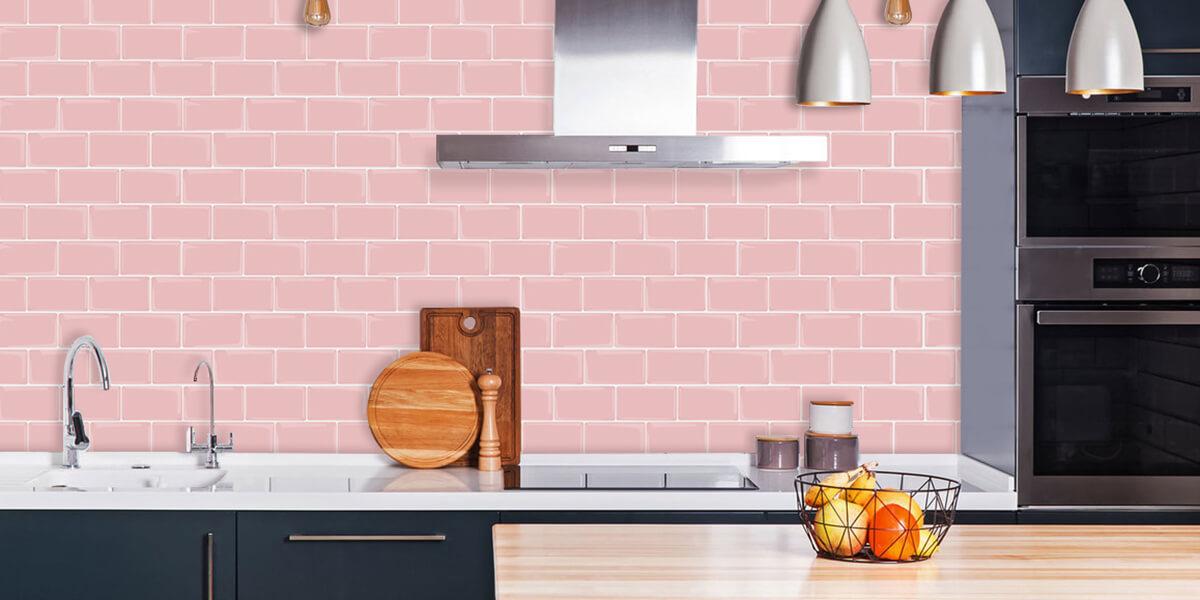 pink subway tile peel and stick kitchen backsplash