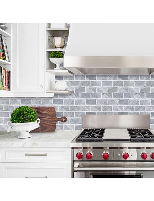 kitchen backsplash gray stone bricks