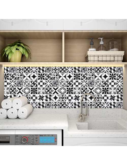 peel and stick moroccan tile sticker for laundry room walls