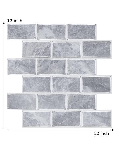 12 x 12 inch gray subway stone brick tile
