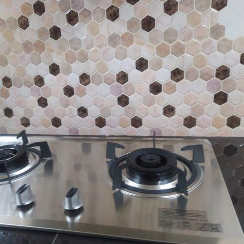 Hexagon Emperador Marble Beige Mosaic Peel Stick Tile photo review